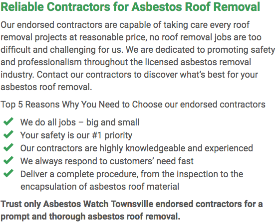 Asbestos Watch Townsville - roof removal left